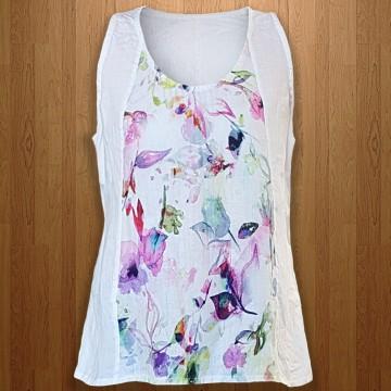 Дамска ленена блуза без ръкави
