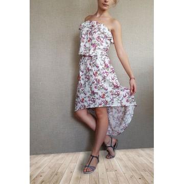 Asymmetric dress with floral print
