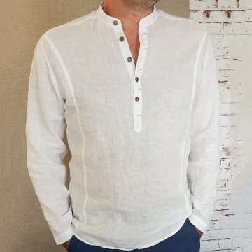 100% Linen Men's Robe with Long Sleeves - 1903