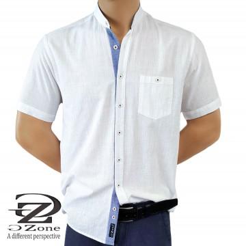 Men's Linen / Cotton shirt with band collar