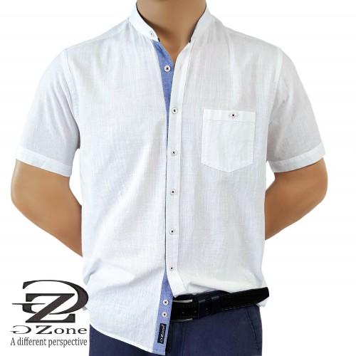 Големи Размери - Мъжка риза Лен/Памук с войнишка яка