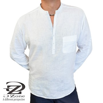 100% Linen Men's Robe with Long Sleeves - 2002